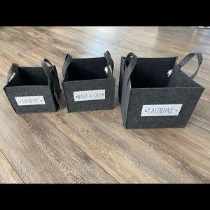 Rae Dunn set of 3 Landry baskets